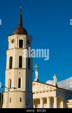 Belfry and Cathedral at Katedros aikste square in Vilnius Lithuania Europe - Stock Photo