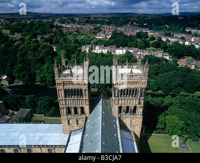 Summer view of Durham Cathedral and River Wear taken from the main tower - Stock Photo