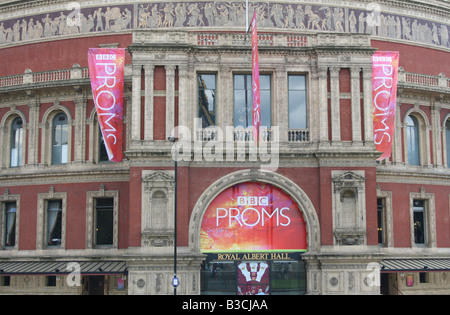 exterior of Royal Albert Hall during Proms London  August 2008 - Stock Photo