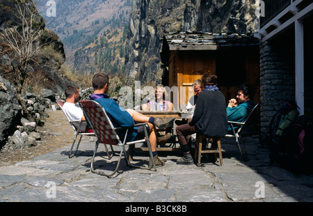 PICTURES CREDIT DOUG BLANE Trekking around the Annapurna circuit in Himalayan Kingdom of Nepal Nepalese Himalayas - Stock Photo