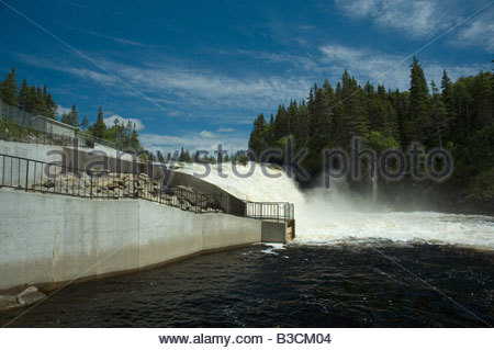 Atlantic Salmon ladder at waterfall on Torrent River Newfoundland - Stock Photo