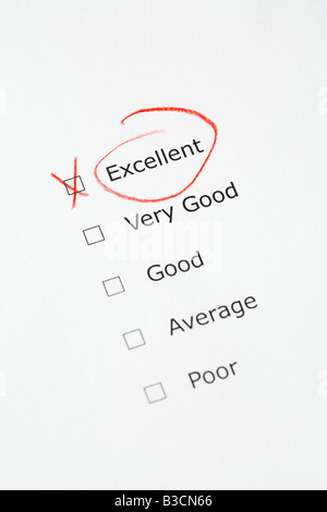 Rating scale with EXCELLENT checked - questionnaire, report, customer satisfaction, business concept - Stock Photo