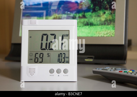 Close up of wireless Owl energy monitor with LED display showing kilowatts of electricity being used by a flatscreen - Stock Photo