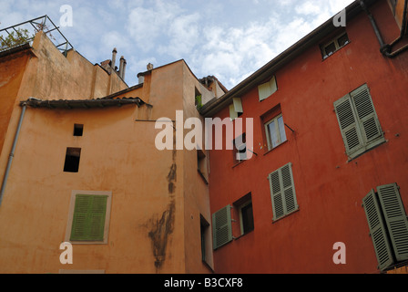 View of old residential house from inner yard in old town of Nice - Stock Photo