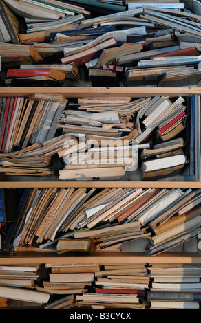 Books and Magazines on Shelves, close-up - Stock Photo