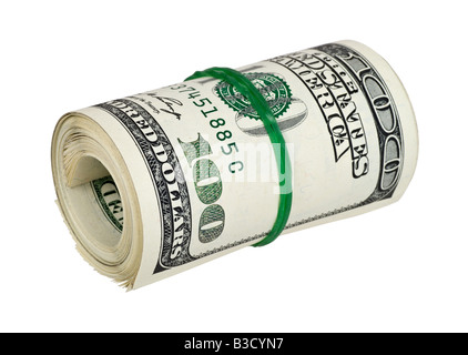 Dollar roll tightened with green rubber band. Rolled money isolated on white background - Stock Photo