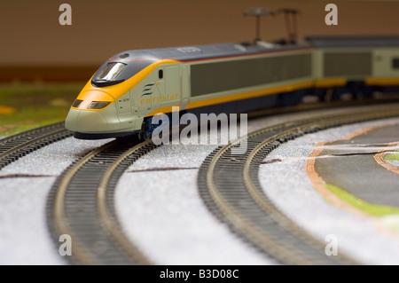 Hornby model of the Eurostar on model railway set - Stock Photo