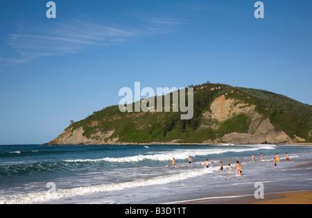General view of the beach at Playa De Rodiles near Villaviciosa in Asturias northern Spain - Stock Photo