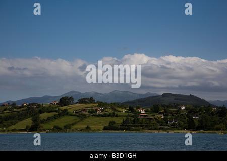 General view of the beach lagoon at Playa De Rodiles near Villaviciosa in Asturias northern Spain - Stock Photo