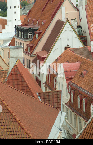 overview over a street in the old town of Tallinn with red roofs, Tallinn, Estonia - Stock Photo
