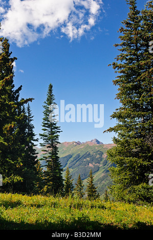 View from the top of Ajax Mountain in Aspen Colorado during the summer looking west toward Elk Mountain Range - Stock Photo