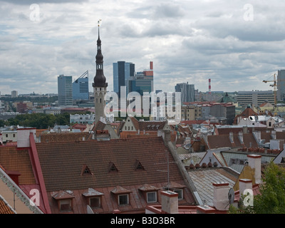 overview over the old town of Tallinn with red roofs, modern part of the town in the background, Tallinn, Estonia - Stock Photo