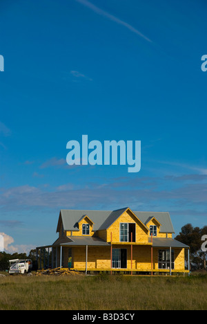 A new timber house under construction and nearing completion in Victoria Australia - Stock Photo