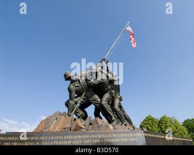 Washington DC USA The Iwo Jima Marine Corps War Memorial in Arlington Virginia. - Stock Photo