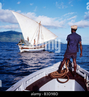 bateau a voile du nord de madagascar boutre geography travel Madagascar transport transportation navigation felucca - Stock Photo