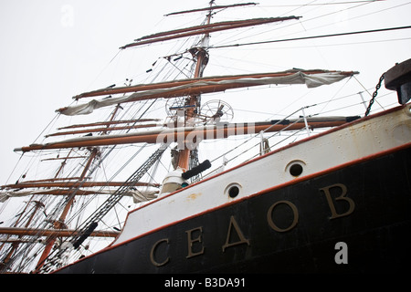 The Sedov, the largest tall ship in the world, moored during Cruise Days 2008  at the pier in Hamburg, Germany - Stock Photo