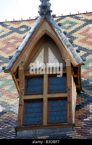 Superb Burgundian roof tiles of the Hospice Hotel-Dieu in Beaune Burgundy France Europe - Stock Photo