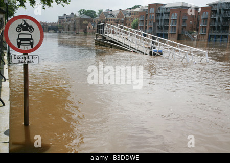 The flooded River Ouse in York. - Stock Photo