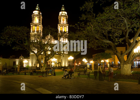 The Cathedral in San Francisco de Campeche Mexico - Stock Photo