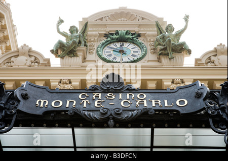 Sign over the door at the Casino in Monte Carlo, Monaco, French Riviera, Cote d'Azur, France - Stock Photo