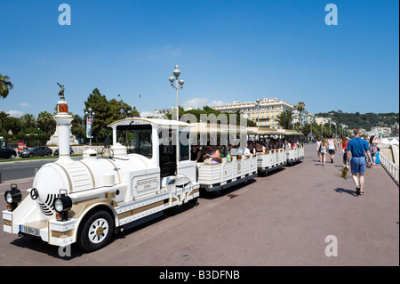 Tour train on the Promenade des Anglais, Nice Cote d'Azur, French Riviera, France - Stock Photo