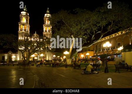 The Cathedral in San Francisco de Campeche Mexico - Stock Photo