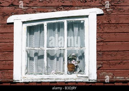 Fishermen's hut window, Malmo, Sweden - Stock Photo