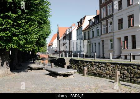 Straße namens Frische Grube in Wismar Deutschland Street named Frische Grube in Wismar Germany - Stock Photo