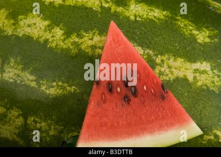 Slice of juicy red ripe watermelon. - Stock Photo
