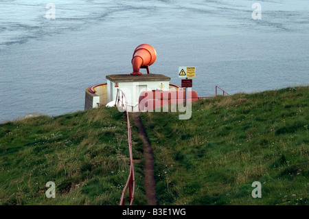 Fog horn at the Mull of Galloway Lighthouse, South West Scotland - Stock Photo