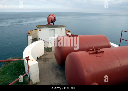 Fog horn and compressed air tanks at the Mull of Galloway Lighthouse, South West Scotland - Stock Photo