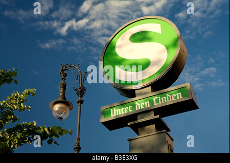 Old S-Bahn sign at the train station 'Unter den Linden' - Stock Photo