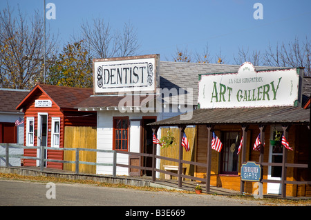 Authentic buildings found in a typical Frontier Village at the National Buffalo Museum near Jamestown North Dakota - Stock Photo