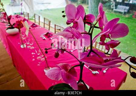 Top table at a wedding reception, laid ready for the wedding breakfast. - Stock Photo