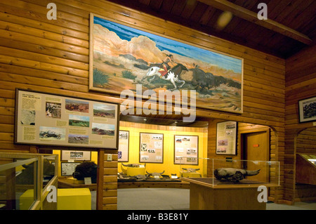 Exhibit in the National Buffalo Museum near Jamestown North  which explains the importance of the buffalo in ND - Stock Photo
