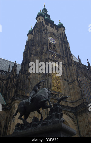 The front of St Vitus s Cathedral in Prague Castle Prague Czech Republic The castle first constructed in the 10th - Stock Photo