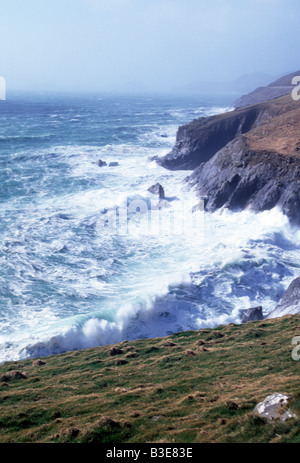 storm force seas lashing irelands atlantic coast - Stock Photo