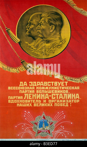 Stalin / Communist Party / Poster / 1945 - Stock Photo