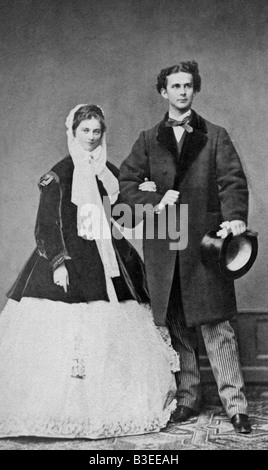 Louis II, 25.8.1845 - 13.6.1886, King of Bavaria 10.3.1864 - 13.6.1886, with fiancee Duchess Sophie in Bavaria, - Stock Photo