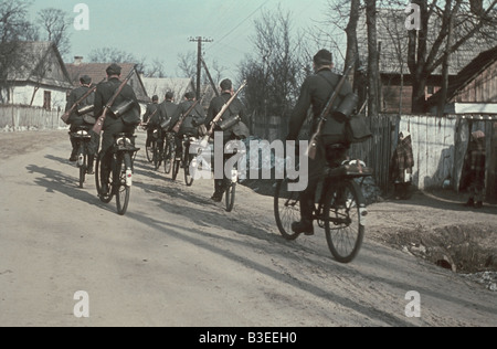 German bicycle troops / WWII / 1941 - Stock Photo