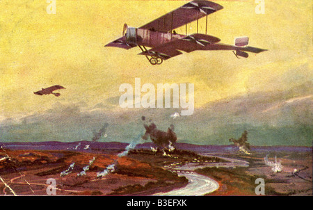 events, First World War / WWI, aerial warfare, France, German airplane on a reconnaissance flight over the Marne, - Stock Photo
