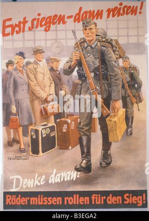 NS- Propaganda Poster/ World War II. - Stock Photo