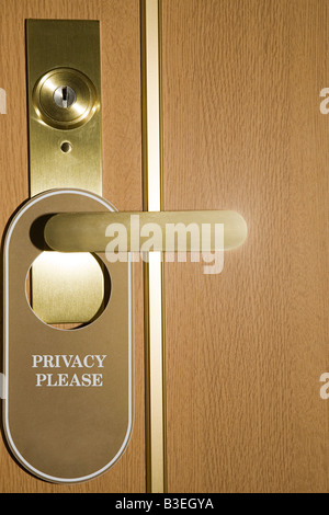 Privacy sign on door - Stock Photo