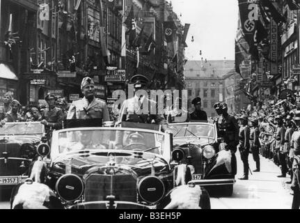 Hitler and Mussolini in a car / 1940 - Stock Photo