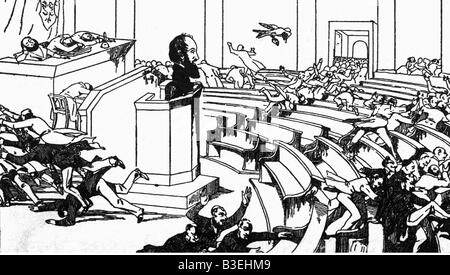 events, revolutions 1848 - 1849, Germany, National Assembly, caricature, 'running applaus', drawing, 1848, , Additional - Stock Photo
