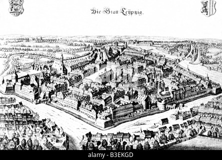 geography / travel, Germany, Leipzig, city views / cityscapes, Pleißenburg, engraving by Franz Hogenberg, circa - Stock Photo