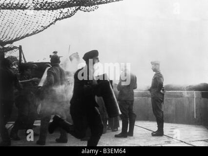 German coastal battery in defence. - Stock Photo