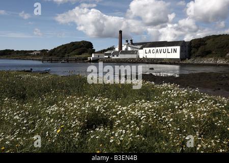 Lagavulin whisky distillery Lagavulin Bay Isle of Islay Scotland UK - Stock Photo