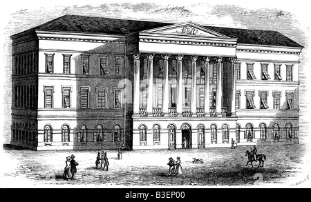 geography / travel, Hungary, Budapest, Pest, buildings, Comitat house, exterior view, engraving, 1848, Additional - Stock Photo