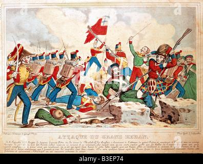 Crimean War 1853 - 1856, siege of Sevastopol 2.9.1854 - 9.9.1855, battle for the Redan 8.9.1855, coloured lithograph - Stock Photo